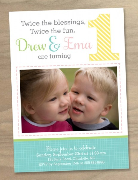 Nice Twins Th Birthday Invitation Wording Simple Twins 5th