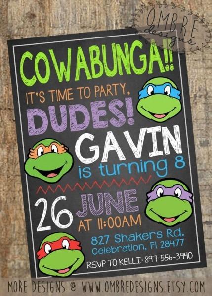 Ebfcccdebdeacede Nice Ninja Turtle Birthday Invitation Template