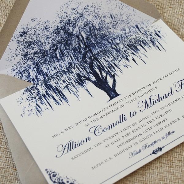 Oak Tree With Filigree Details Wedding Invitation Vintage Blue