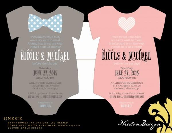 Nealon Design  Onesie Baby Shower Invitations