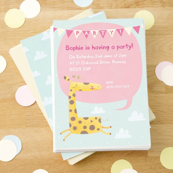 Personalised Giraffe Party Invitations By Made By Ellis