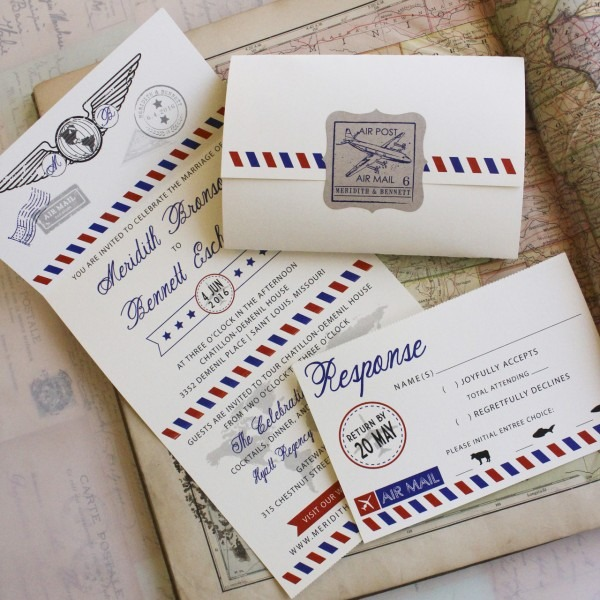 Air Mail Seal And Send Wedding Invitation