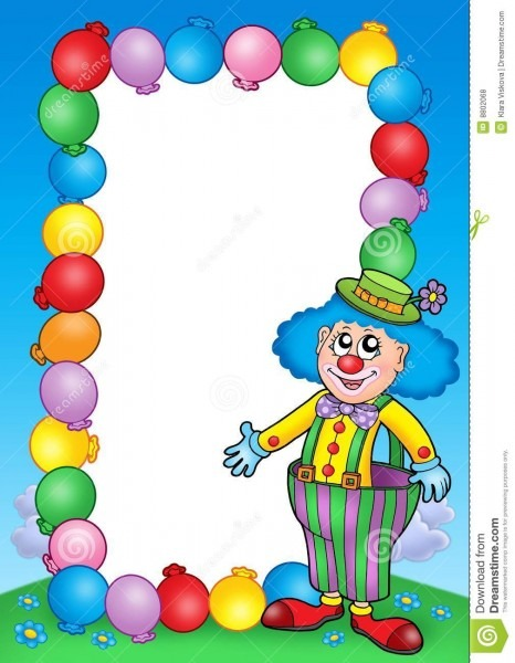 Party Invitation Frame With Clown 7 Stock Illustration