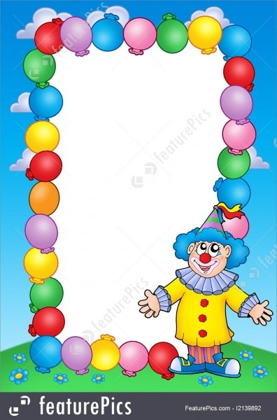 Templates  Party Invitation Frame With Clown 2