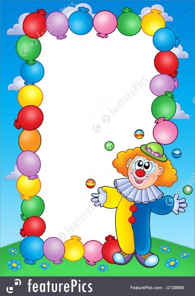 Templates  Party Invitation Frame With Clown 4