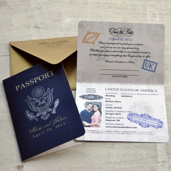Save The Date Wedding Passport Design Fee (us Traditional Emblem