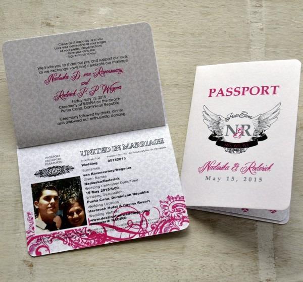 Passport Wedding Invitation Design Fee (pink And Black Rock 'n