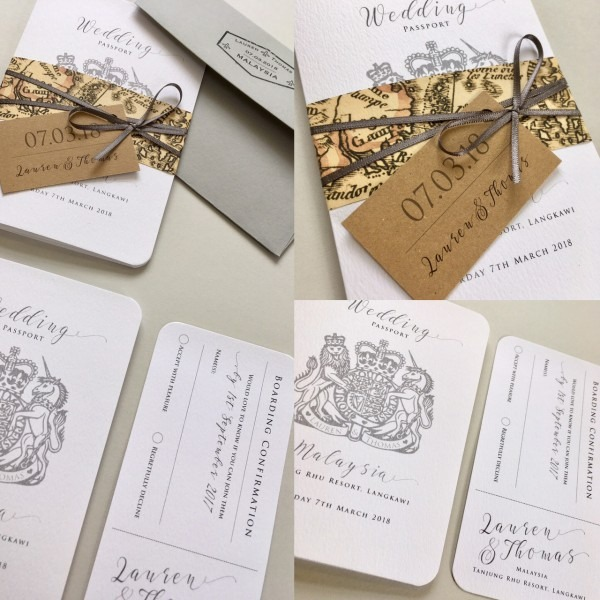 Passport Wedding Invitation With Boarding Pass Rsvp Card