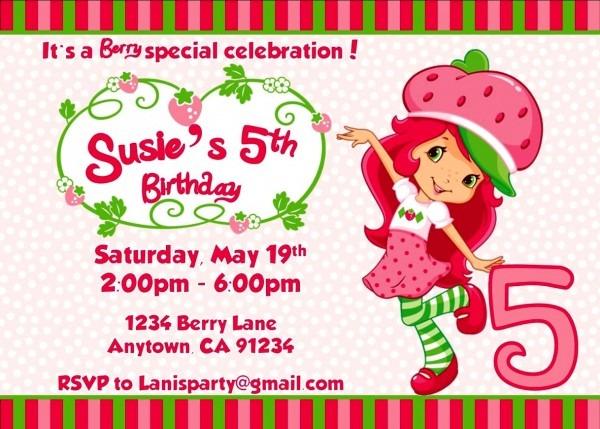 Unique Of Strawberry Shortcake Birthday Invitations Free Printable