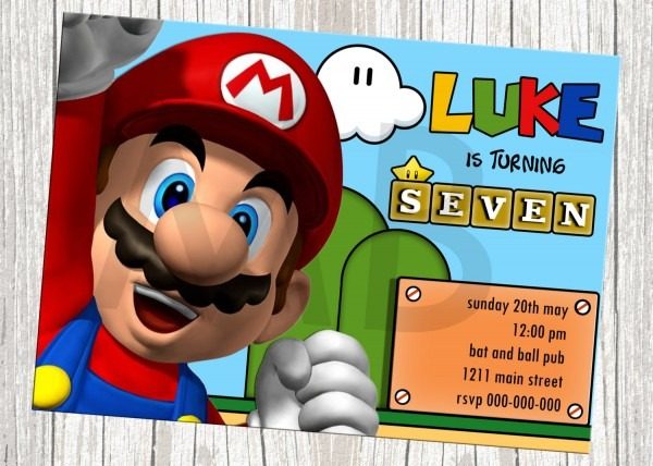 Pictures Super Mario Birthday Invitations Awesome Mario Birthday