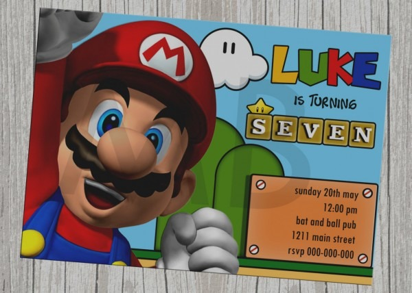 Mario Party Invitations Free Template Super Mario Bros Birthday