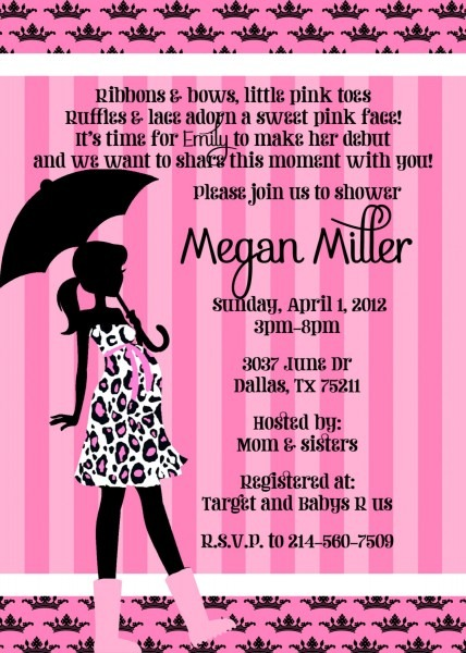 Pink Card Baby Shower Invitation Wording Ideas