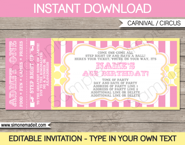 Carnival Birthday Ticket Invitations Template