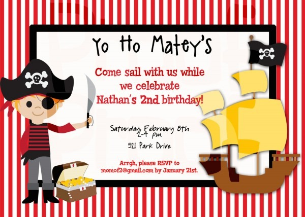 Pirate Party Birthday Fancy Pirate Birthday Invitations