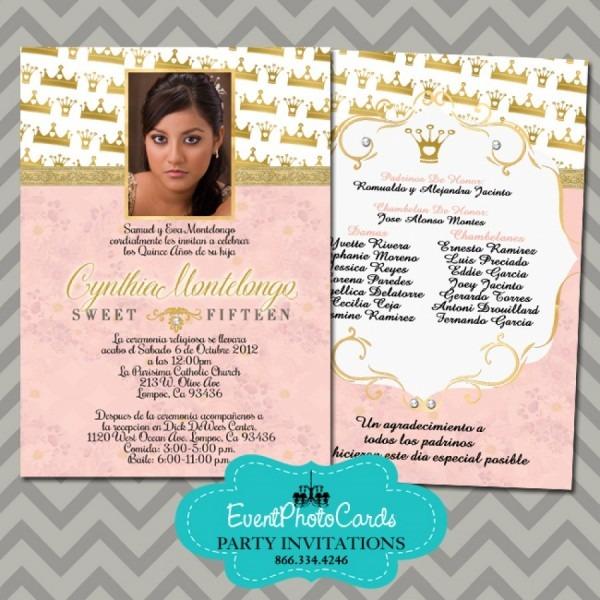 Princess Coral Quinceanera Invitations, 15th Birthday Invites For