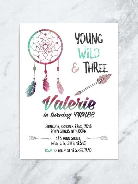 Boho Young Wild & Three Invitation, Tribal Birthday Invitation