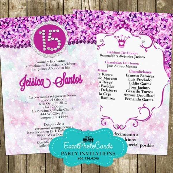 Fuchsia Purple Princess Quinceanera Invitations