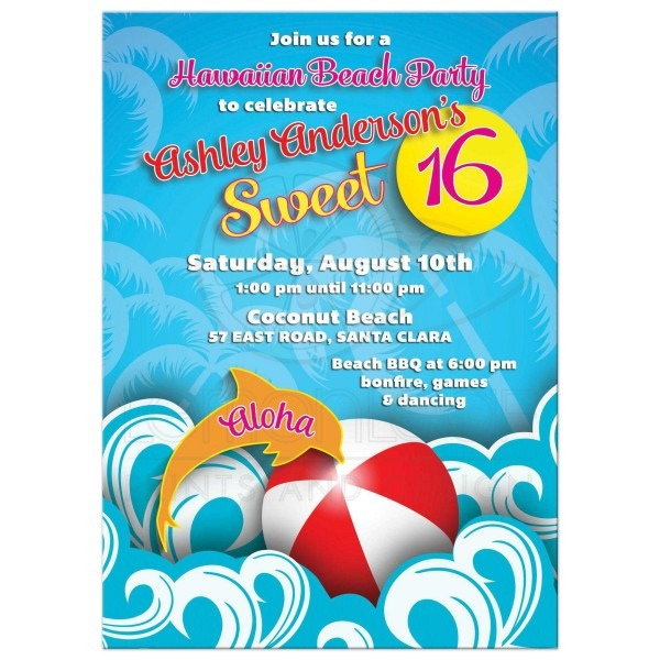 Rectangle Tropical Beach Ocean Dolphin Sweet Invitation Front Good