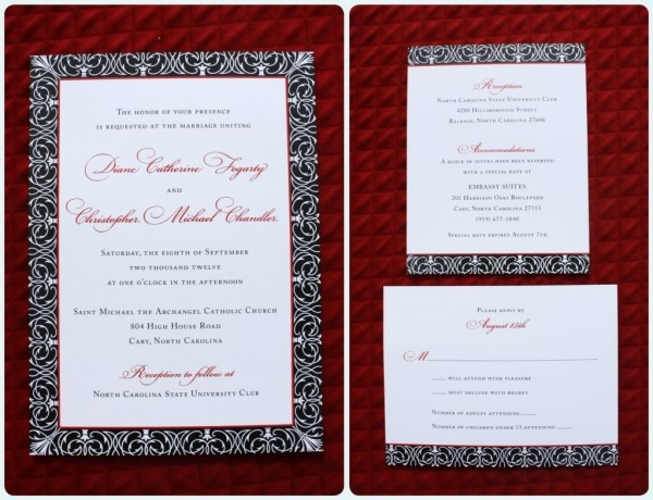 Red, Black & White Scrollwork Pattern Bordered Wedding Invitations