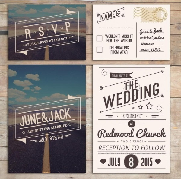 Retro Wedding Invitation Set