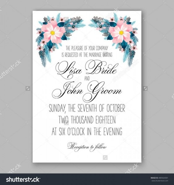 Romantic Pink Peony Bouquet Bride Wedding Invitation Template