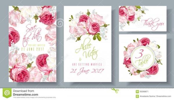 Rose Wedding Invitation Stock Vector  Illustration Of Date