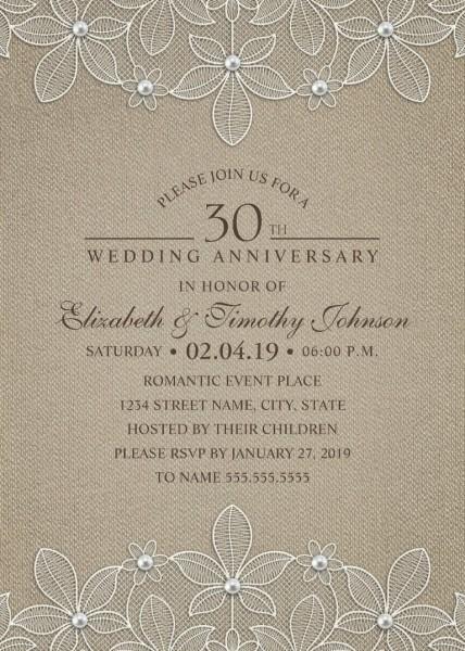 Rustic Burlap 30th Wedding Anniversary Invitations