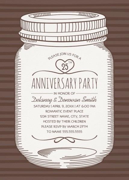 Rustic Mason Jar 25th Wedding Anniversary Invitations – Vintage