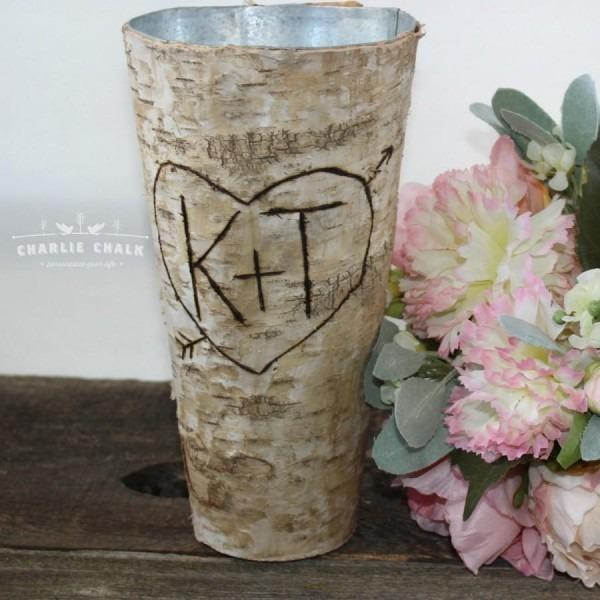 Rustic Personalized Birch Vase, Wedding Gift, Wedding Decor, Home