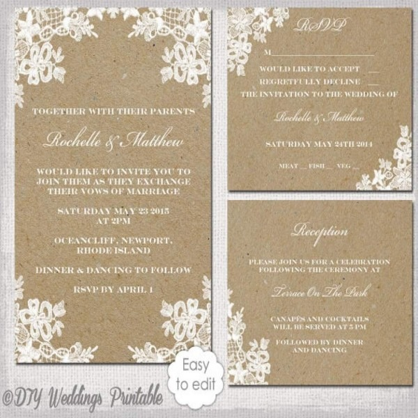 Invitation  Rustic Wedding Invitation Templates
