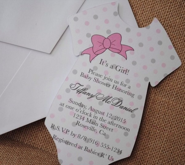 Baby Girl Shirt With Ribbon Bow Baby Shower Invitation