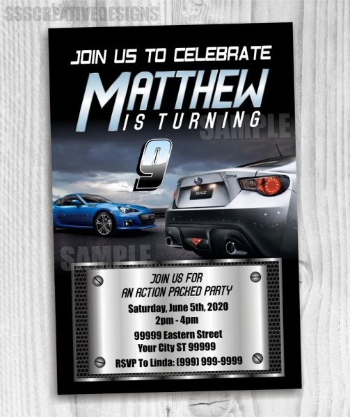 Fast And The Furious Birthday Invitation N Look Alike Printed