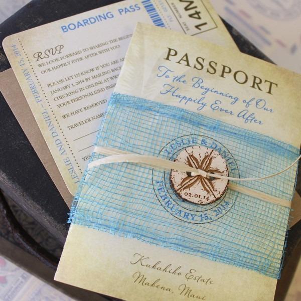 Vintage Sand Dollar Passport Wedding Invitation (makena, Maui)