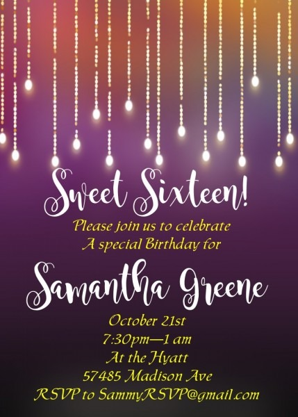 Sweet Sixteen 16 Party Invitation New Selections Winter 2019