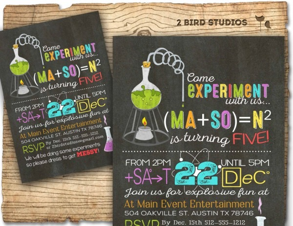 Science Birthday Party Invitations Printable Free Template Mad