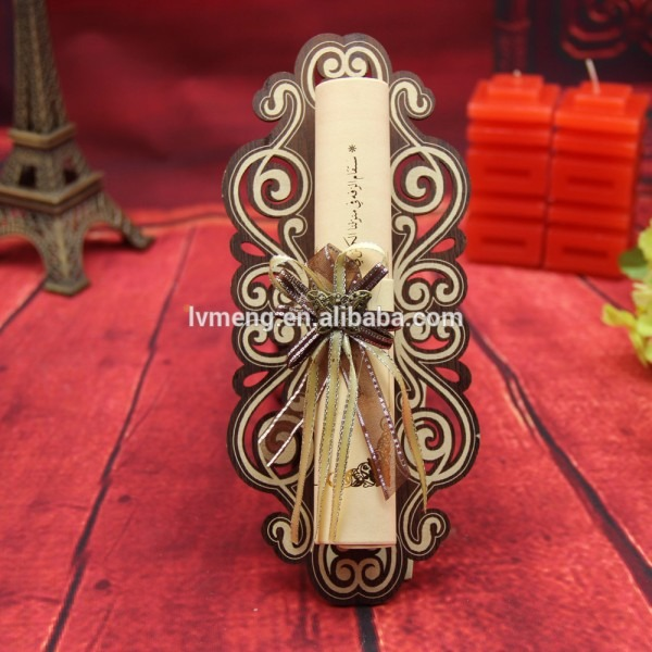 Scroll Wedding Invitations Card Manufacturer With Metal Butterfly