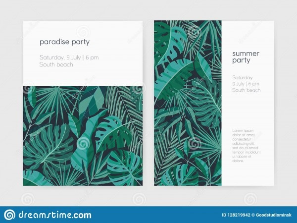 Set Of Summer Party Invitation Or Poster Templates With Lush