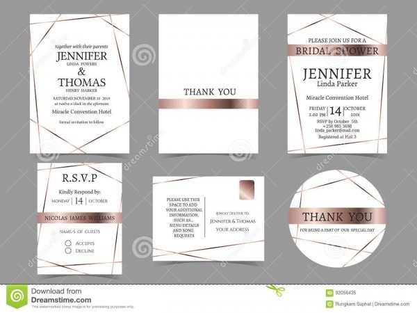 Set Of Wedding Invitation Card For Couple Rose Gold And White Tone