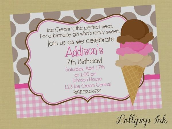 Simple Ice Cream Party Invitations Wording