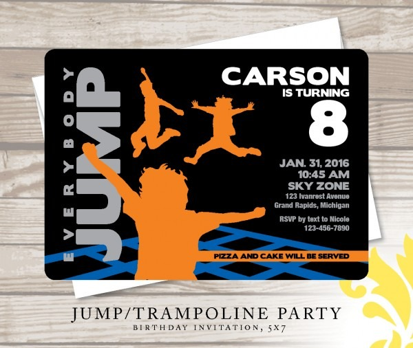 Invitation  Sky Zone Birthday Invitations