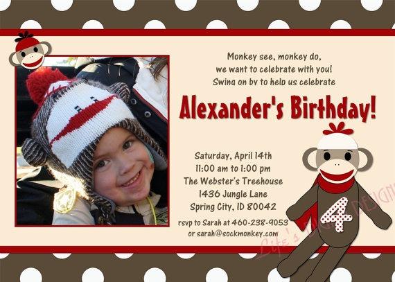 Beautiful Sock Monkey Birthday Invitations