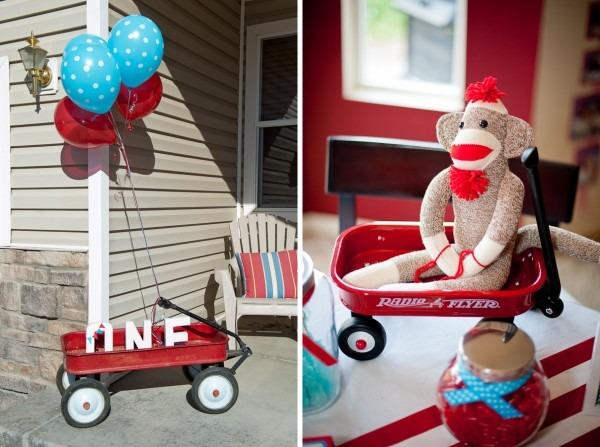 Party} Blue & Red Sock Monkey 1st Birthday