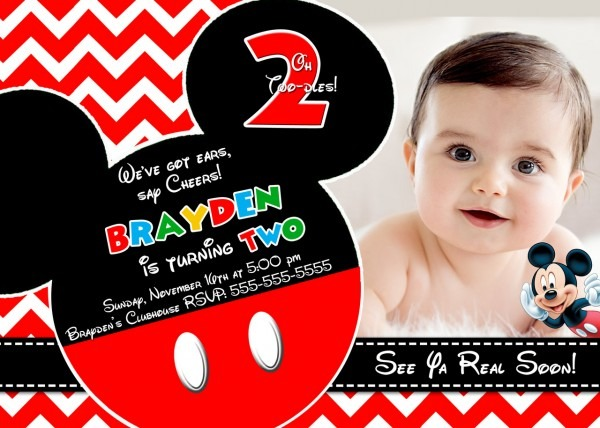 Customized Mickey Mouse Invitations