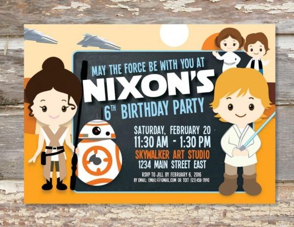 Star Wars Birthday Invitation Star Wars Birthday Invitation With