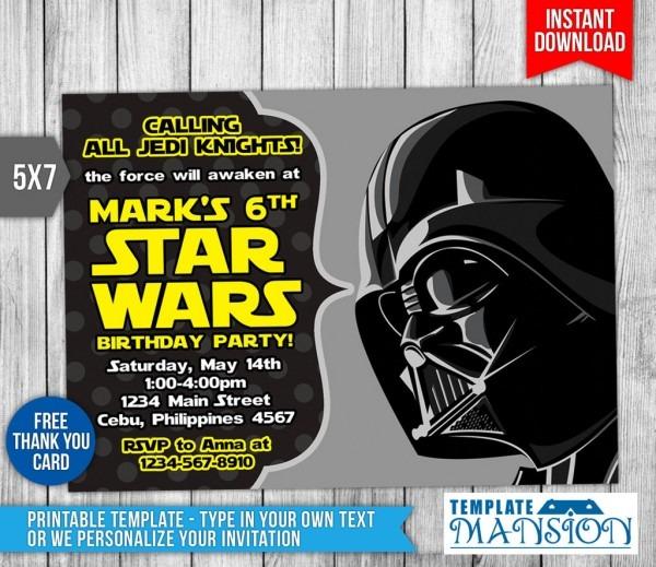 Ecabaeadfcdea New Star Wars Invitation Template