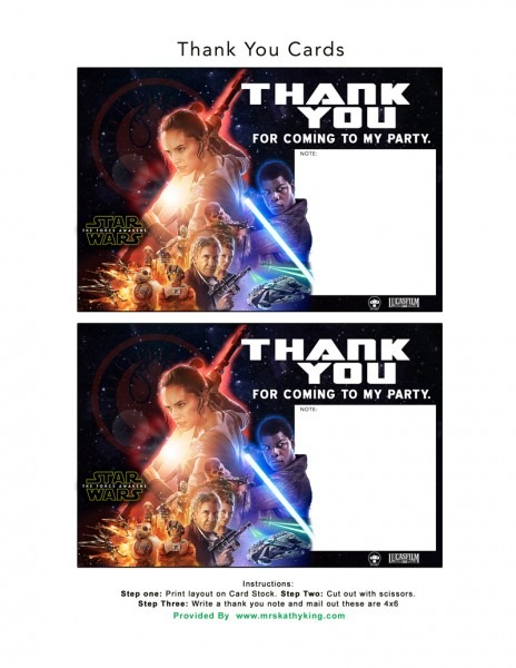 Free Star Wars  The Force Awakens Invitation & Thank You Card