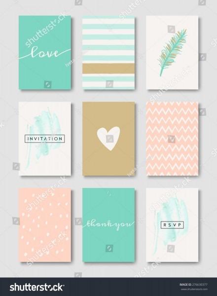 Set Wedding Invitation Card Templates Pastel Stock Vector (royalty
