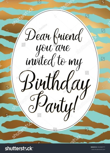 Stock Vector Dear Friend You Are Invited To My Birthday Party