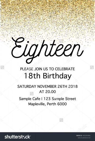 Eighteen Invitation Card 18th Birthday Party Stock Vector (royalty