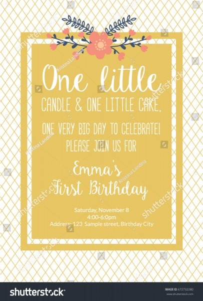 First Birthday Invitation Girl First Birthday Stock Vector